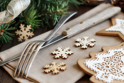 Christmas Place Setting on a rustic wooden table